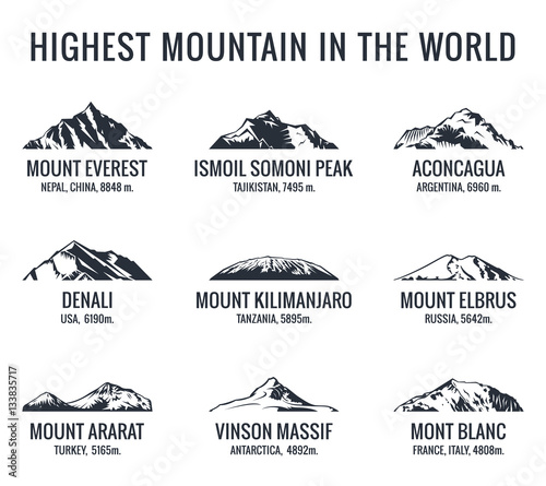 Cuadros en Lienzo Mountain tourist vector logos set