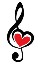 Icon Vector Black Clef With Red Heart