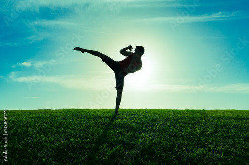 Silhouette of man practicing MMA mixed marshal arts.
