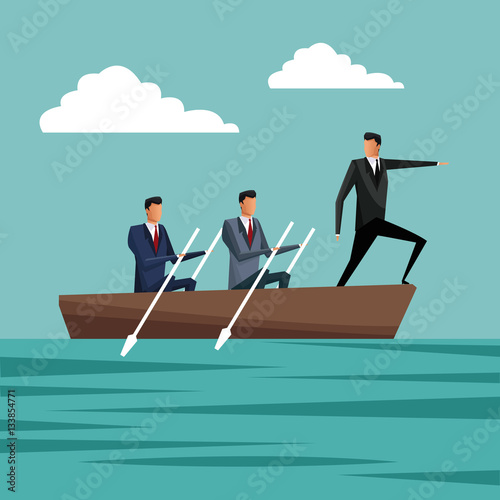 Fotografía business people paddling team work manager growth vector illustration eps 10