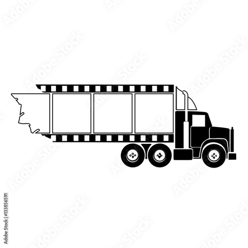 Photo  Transport truck hauling film strip