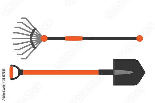 Valokuvatapetti Gardening shovel and rake groundworks tools vector.