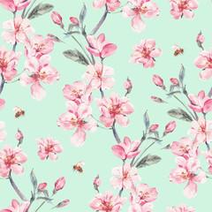 Panel Szklany Do pokoju dziewczyny Vintage garden vector spring seamless background