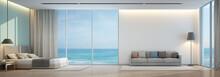 Sea View Bedroom And Living Room In Luxury Beach House - 3D Rendering