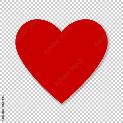 Valentine red heart on transparent background Wallpaper Mural
