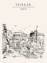 Pushkar, Rajasthan, India. Drawing. Ghats and palaces on holy lake. Puja place. Hindu temple, people bathing, pigeons. Hand drawing. Travel sketch. Book illustration, postcard or poster template