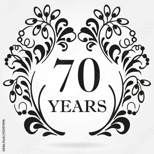 Fotografia  70 years anniversary icon in ornate frame with floral elements