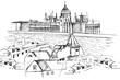 Panorama Budapeszu. Rysunek ręcznie rysowany na białym tle.
