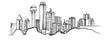 Panorama miasta Dallas. Rysunek ręcznie rysowany na białym tle.