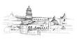 Panoram Lizbony. Rysunek ręcznie rysowany na białym tle.