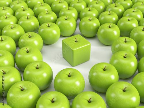 Fotografía  Anders sein, Individualität, Einzigartigkeit, Persönlichkeit – grüne Äpfel