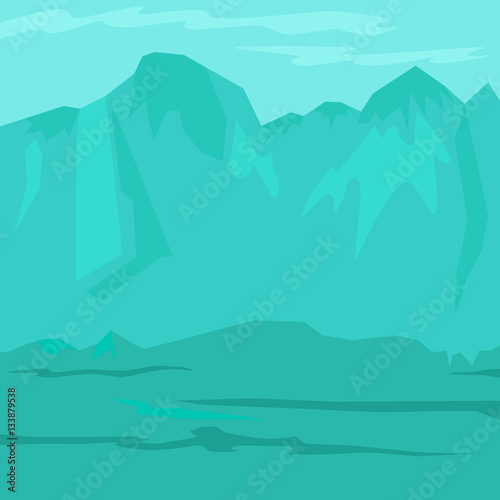 Garden Poster Green coral Ancient prehistoric stone age blue landscape with mountains. Vector illustration