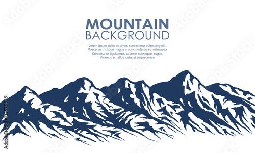 Obraz na plátně Mountain range silhouette isolated on white.
