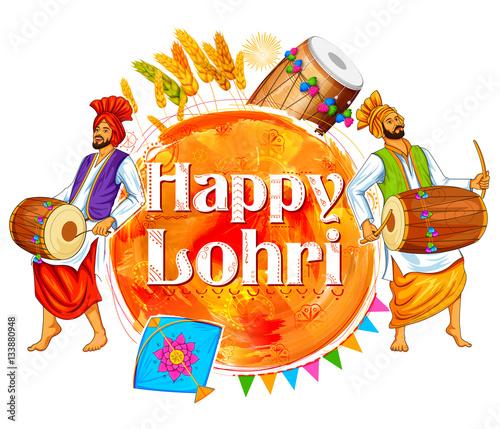 Fényképezés  Happy Lohri background for Punjabi festival