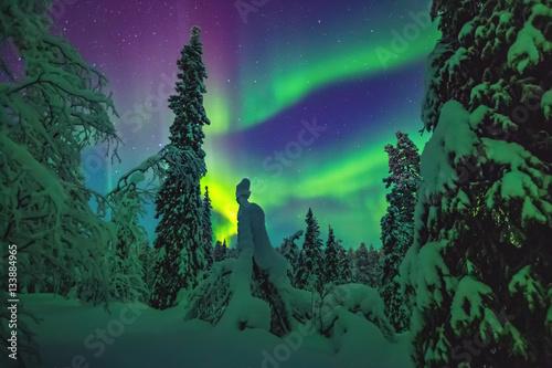 Montage in der Fensternische Nordlicht Nothern lights over Lapland