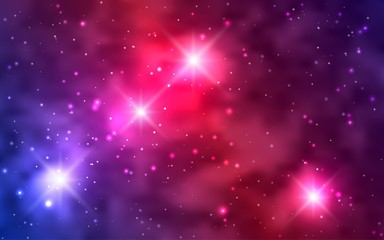 Cosmic background galaxies, nebula and shining stars. Space vector illustration for your design, space wallpapers