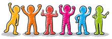 Set: Motivierte Und Erfolgreiche Business-Strichmännchen / Farbig, Bunt, Zeichnung, Gezeichnet, Handgezeichnet, Schraffiert, Design, Vektor, Freigestellt