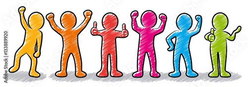 Valokuva  Set: Motivierte und erfolgreiche Business-Strichmännchen / farbig, bunt, Zeichnu