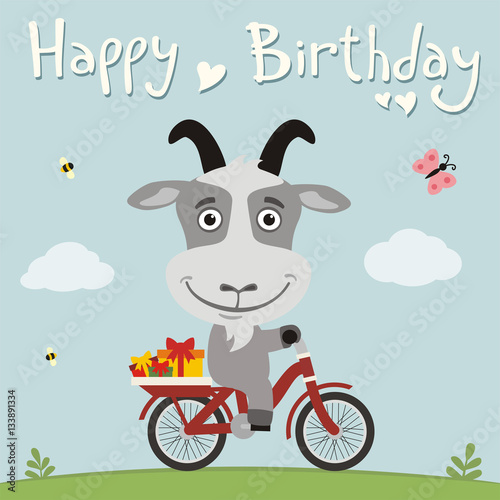 Happy birthday! Funny goat on bike with gifts. Birthday card with cute goat in cartoon style