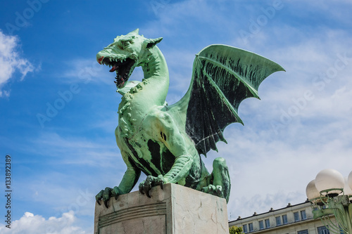 Famous Ljubljana Green dragon at Dragon Bridge. Slovenia.