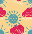Sun with clouds seamless pattern