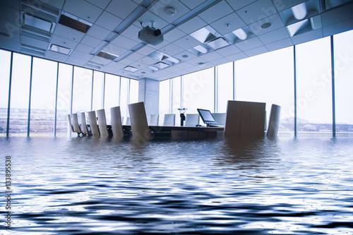 Fotomural Konferenzraum steht stark unter Wasser