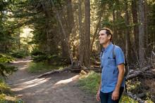 Happy Senior Male Hiker In For...