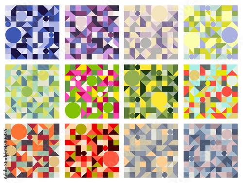 Set Of Seamless 12 Vector Geometric Pattern Colorful
