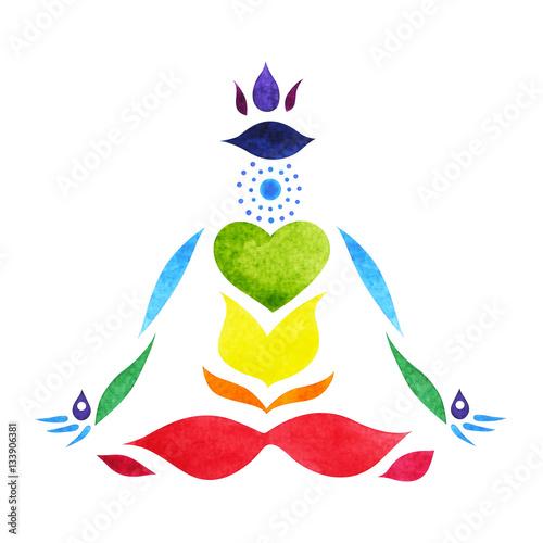 7 Chakra Symbol Color Lotus Pose Yoga Watercolor Painting Hand