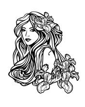 Woman With Long Hair Among Flo...