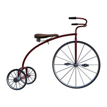 3D Rendering Retro Tricycle On White