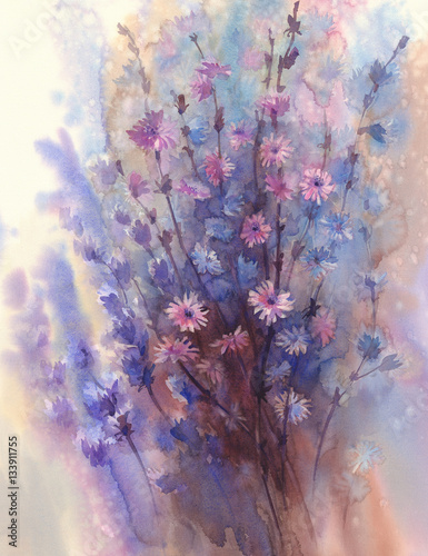 blue pink flower watercolor background