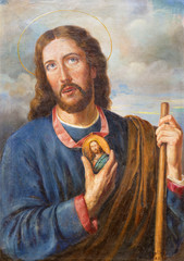 VIENNA, AUSTRIA - DECEMBER 19, 2014: Paint of apostle Saint Jude Thaddeus in church Kirche St. Laurenz (Schottenfelder Kirche) by unknown artist from begin of 20. cent.