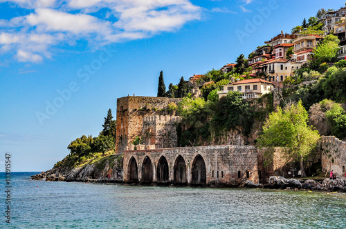 Dockyard and arsenal in Alanya on a beautiful, sunny day, Turkey Canvas Print