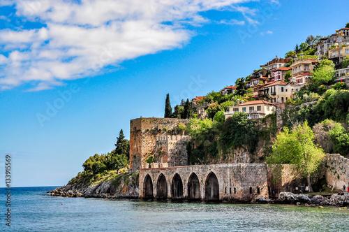 Carta da parati Dockyard and arsenal in Alanya on a beautiful, sunny day, Turkey