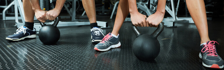 Hands with dumbbell