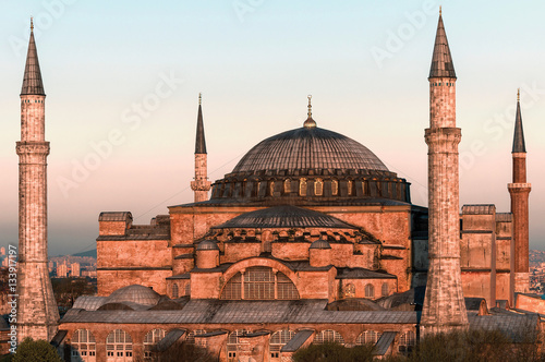 Leinwand Poster  Hagia Sophia at sunset
