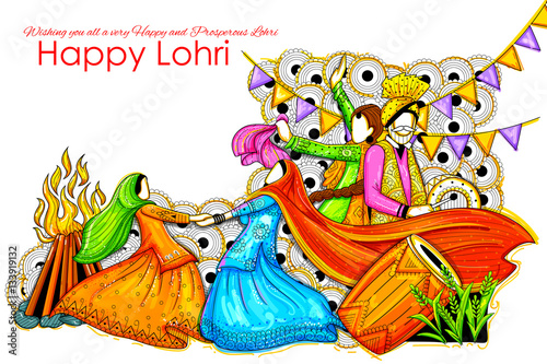 Foto  Happy Lohri background for Punjabi festival