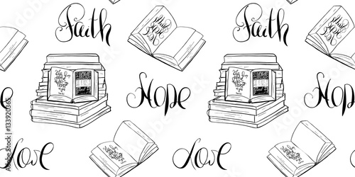 faith hope love bible lettering open bookhand drawing illustration