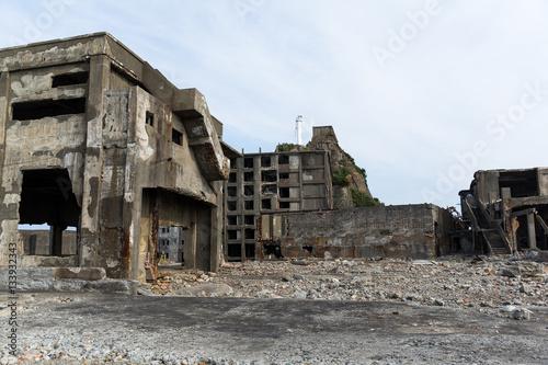 Photo Stands Ruins Hashima Island