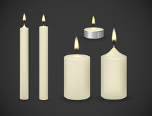 Candles Flame Realistic Set Isolated On Dark Background Vector 3