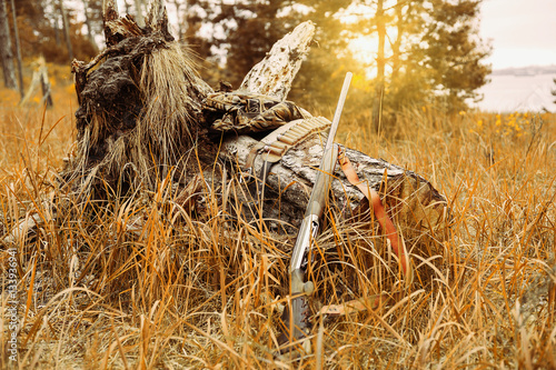 Fotobehang Jacht Autumn hunting season. Hunting Conceptual background. Outdoor sports.