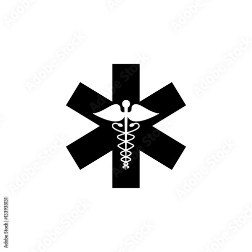 Photo  Caduceus solid icon, Medicine and health sign, vector graphics, filled pattern on a white background, eps 10
