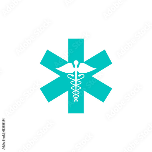 Photo  Caduceus solid icon, Medicine and health sign, vector graphics, colorful linear flat pattern on a white background, eps 10
