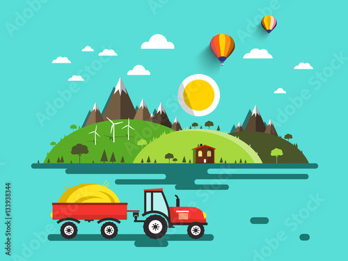 Wall Murals Green coral Flat Design Vector Landscape. Tractor with Dray on Field. Mountains and Hills. Bio Farm. Nature Scene.