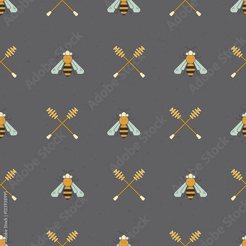 Cotton fabric Honey Seamless Pattern