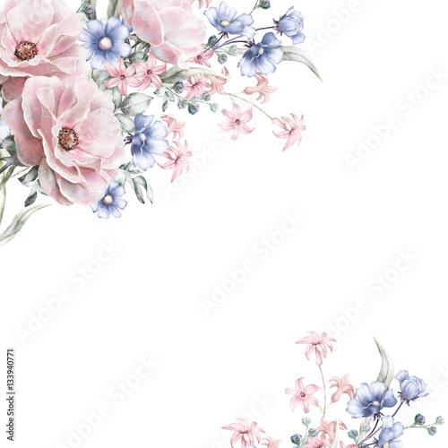 Card watercolor wedding invitation design with pink rose little card watercolor wedding invitation design with pink rose little flowers and leaves hand mightylinksfo