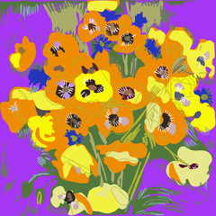 Yellow California Poppy on a purple background.Hand drawn.