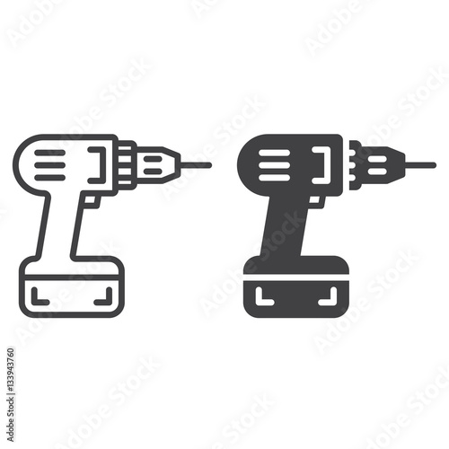 Fotografia  Screwdriver, power drill line icon, outline and filled vector sign, linear and full pictogram isolated on white
