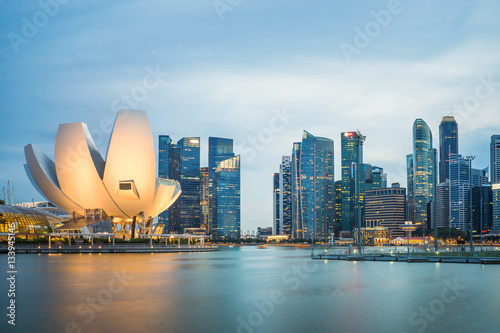 Singapore skyline cityscape at twilight at Marina Bay Poster